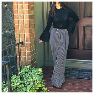 Wide leg striped sailor palazzo pants